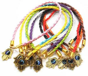 30pcs / lot mixte Hamsa main manuelle Eye String Bracelets chanceux Charms Pendentif Cuir DIY