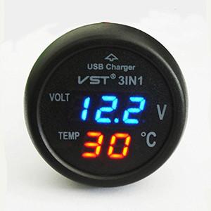 ZOOKOTO 유니버설 레드 시가 라이터 자동차 USB 포트 충전기 디지털 LED 디스플레이 전압계 온도계 12V - 24V 배터리 전압 테스터