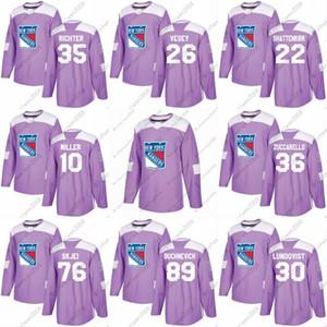 2018 Lutas Cancer Jersey 61 Rick Nash 26 Jimmy Vesey 17 Jesper Fast 40 Michael Grabner Nova Iorque Rangers Custom Hockey Jersey