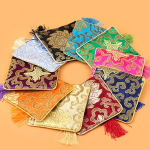 الحرير الصينية القطيفة المطرزة مجوهرات الحقيبة حقيبة 11.5x11.5cm عملة المحافظ هدية عيد الميلاد حقيبة زيبر مزيج الألوان الجيب بالجملة