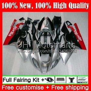 Cuerpo para Aprilia RSV1000R Mille RSV1000 RR 03 04 05 06 03 06 2MT0 RSV 1000R 2003 2004 2005 2006 2003 2006 Fairing Bodywork Red silver blk