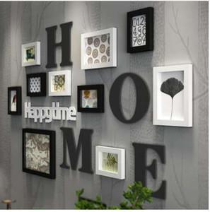 Yeni Katı Ahşap Büyük Resim Çerçeveleri Modern Oturma Odası Moda Boyama Fotoğraf Çerçevesi Set Ahşap Mektup Ev Duvar Dekorasyon DIY