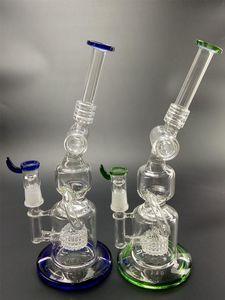 12.5 pulgadas Vidrio azul Bong Hookahs DAB Rigs Cubilete con husillo de la rueda Honeycomb Percolator Agua Tubos de agua Plataforma petrolera para fumar