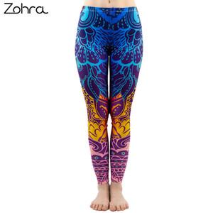Zohra Moda Mujeres Impresión Azul Mandala Leggings Sexy Elasticidad Entrenamiento Pantalones Gimnasio Stretch Slim Bottoms