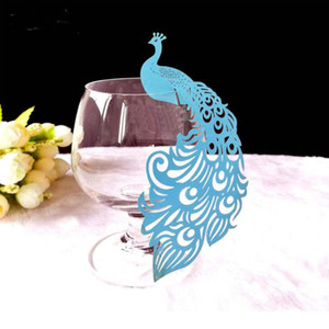 Peacock Laser Cut Bicchiere da vino Nome carta Luogo Escort Cup Cards Matrimonio Baby Shower Festa di compleanno Decorazioni natalizie