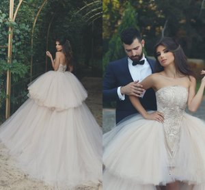 New Arabic Ball Gown Wedding Dresses 2019 Strapless Backless Sweep Train Tiered Lace Top Puffy Hi-Lo Garden Country Bridal Gowns