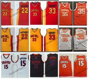 Vintage 33 Kevin Durant 22 Carmelo Anthony Oak Hill Escuela secundaria Camisetas de baloncesto Texas Longhorns Syracuse Orange College Camisas cosidas