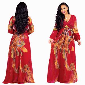 Bonne Qualité En Mousseline De Soie Imprimer Des Robes Sexe Profonde Col En V Hippie Impression Femme Occasionnel À Manches Longues Grosses femmes plus la taille 5Xl 4xl 3xl robe