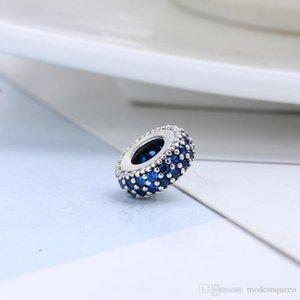 5 pz / lotto blu spacer charms perline S925 argento sterling adatto braccialetti stile pandora 791359NCB H9