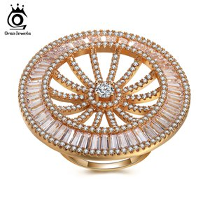 ORSA JEWELS Luxury Women Rings Cubic Zircon Gorgeous Design Full Size CZ Trendy Women's Ring Vintage Anillos Mujer OMR05
