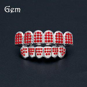 Real Shiny Hiphop Teeth Grills Unisex Red Zircon Parte superior inferior de la parrilla conjunto con dientes de silicona Body Jewelry Wholesale