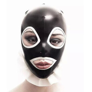 Body Stocking 2018 Hot Sale exotic Hot Sexy Women Latex Spliced Side Frilly Hoods Female Open Mouth Mask Monochrome