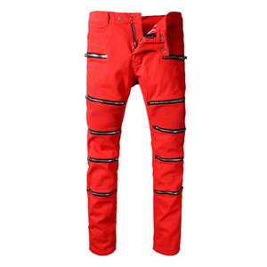 Jeans Biker Denim Punk di alta qualità Uomo 2018 Marca Mens Designer Fashion Slim Skinny Red Dirty Paint Overall Leather