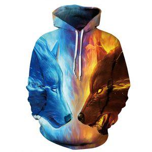Ice Fire Wolf Hoodies من JoJoesArt 3D الرجال النساء بلوزات موضة البلوز الخريف رياضية المتناثرة هوديس عارضة الحيوان