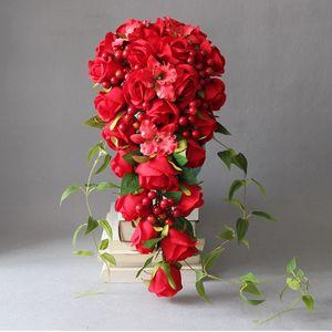 JaneVini Cachoeira Artificial Do Vintage Bouquets De Casamento Flores De Rosas Vermelhas Em Cascata Bouquet De Noiva Flor De Seda Broche Artesanal Ramo Flores