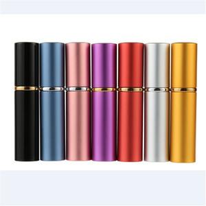 5 ml 미니 스프레이 향수 병 금속 스프레이 재충전 용 휴대용 향수 원자로 알루미늄 재사용 가능한 병 빈 화장품 용기 7 색