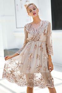 V boyun uzun kollu pullu parti elbiseler kadın Seksi örgü streetwear noel midi elbise kadın ilkbahar sonbahar elbise vestido