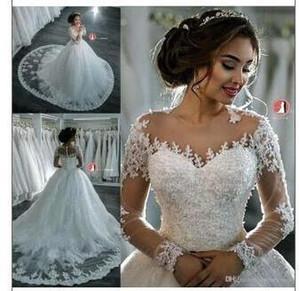Árabe Sheer Mesh Top Una línea de vestidos de novia Apliques de encaje Ilusión de cuentas Mangas largas Barrido de tren Vestidos de novia de boda BA4150