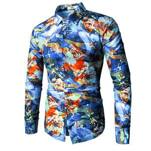 Eğilim Çiçek Gömlek Erkekler 2018 Bahar 3D Çiçek Baskı Gömlek Marka Giyim Rahat Iş Hawaiian Uzun Kollu Gömlek