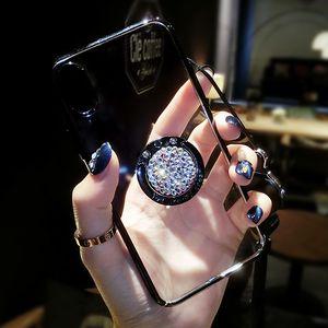 Алмазные мраморные чехлы для iPhone 6 6 S 7 8 Plus X задняя крышка 10 6 6 S Plus 360 палец кольцо блеск стенд телефон Case
