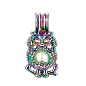 5pcs Rainbow Color Cute Owl Pearl Cage Beads Cage Essential Oil Diffuser Locket Pendant DIY Jewelry Making for Oyster Pearl Gift C83