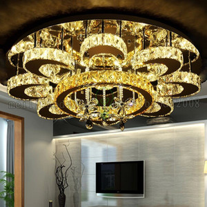 Nouveau Simple LED Fleur K9 Cristal Rond Plafond Lampes Haut De Gamme Lumières Éclairage Pour Chambre Salon Salle D'étude Villas Restaurant Hôtel