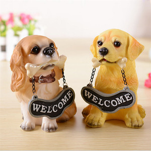 creative handmade resin dogs hold welcome home placards resin craft ornaments dog statues animal figurines home decoration M-411