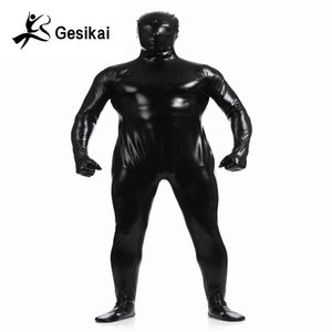 Masculin métallique brillant Zentai Body complet Back Fermeture à glissière Costum Made Collant Costumes Costume complet Cosplay Halloween Costumes