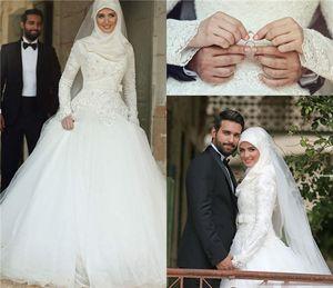 Arabische Islamische Muslim Brautkleider mit langen Ärmeln wulstige Spitze Winter-A-Linie Brautkleider High Neck Midwest Pakistani Abaya