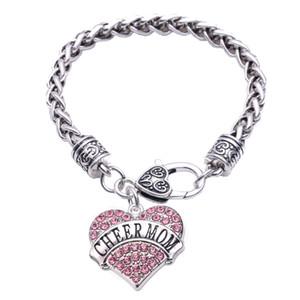 Braccialetti di grano di Pulseira del Sudamerica di forma del cuore di cristallo del braccialetto pendent di CHEER MOM Charm per il regalo