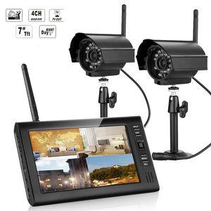 NEW 7 بوصة مراقبة لاسلكية CCTV كيت كاميرات قناة 2.4GHz 4CH CCTV DVR 2PCS لاسلكية ليلة الرؤية الصوت نظام أمن الوطن