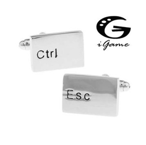iGame 남자 선물 키보드 커프스 링크 Wholesaleretail 실버 컬러 구리 소재 참신 Esc Ctrl 디자인