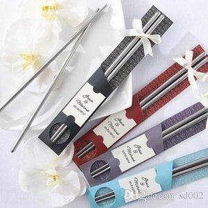 Palillos metálicos de acero inoxidable para recuerdos de bodas Vajilla Adultos Palillo en paquete de papel Muchos colores Fácil llevar 1cd ZZ