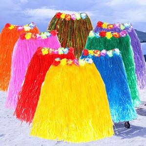 Popular Tassel Child Girl Princess Flower Hula Grass Skirt Dancewear Fancy Costuhow me Show SkirtHula grass skirts garlands bracelet head