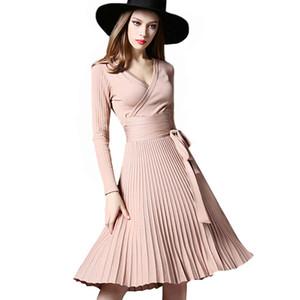Vestiti da inverno eleganti di alta qualità 2017 Abiti da ufficio per le donne Fusciacche decorative con scollo a V Solid Plus Size Abiti da lavoro Vintage Vestidos
