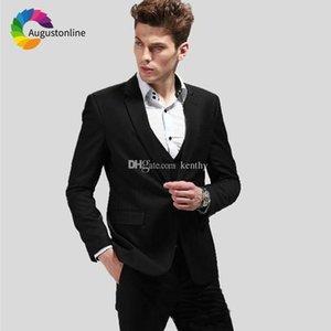 2019 Erkekler Siyah Çentikli Yaka Düğün Takımları İş Abiye Damat Özel Slim Fit Biçimsel 3piece Sağdıç Blazer smokin Takımları