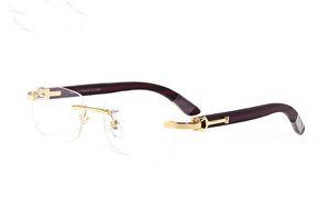 neue marke randlose gläser klar männer holz büffelhorn sonnenbrille gold silber schwarz braun halb halb rahmen lunettes de soleil des femmes homme