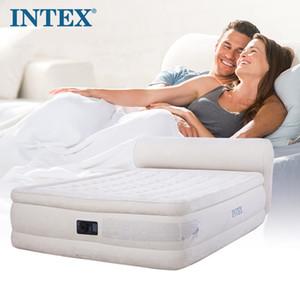 Geri çift ile INTEX çift katmanlı hava yatak hattı çekme hava yatağı kalın dahili elektrikli pompa 64460