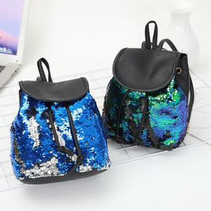 4 Colors Travel Sequin Drawstring Backpack Magic Reversible Paillette Mermaid Sequin Backpack Women Fashion Outdoor Book Bags CCA10464 12pcs