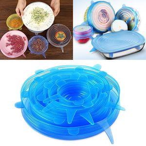 Cubierta de silicona Tapas de estiramiento Universal Picnic Food Fresh Preserve Cover For Bowl Pots Sartenes Taza Utensilios de cocina Accesorios 6 unids / set WX9-644