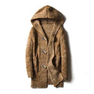 2018 Long pull corne boucle cardigan épaississement coupe-vent tricoter sans doublure vêtement haut manteau lâche Hoodies pour hommes