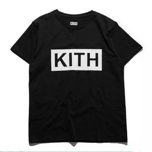 Mode Herren Sommer T-shirts KITH Buchstaben Gedruckt T Coole Kurzarm Rundhalsausschnitt CottonTees Mann Frauen Weiß Schwarz Tops S-3XL