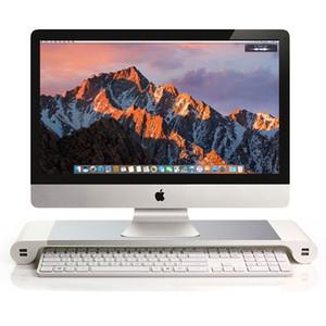 Aluminium-Computer-Monitor-Standplatz-Raum-LCD-Monitor-Riser C0069 PC-Schirm-Berg mit 4 USB-Ports Keybord-Speicher