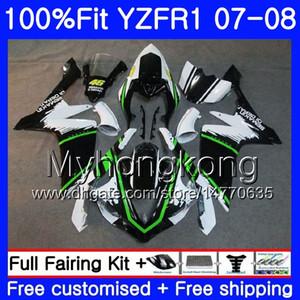Corpo iniezione per YAMAHA YZF R 1 YZF 1000 YZFR1 07 08 227HM.6 YZF R1 07 08 YZF1000 YZF-1000 YZF-R1 stock Green black 2007 2008 Kit carenatura