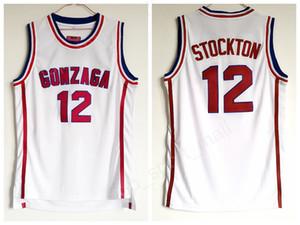 Gonzaga Bulldogs Basketbol John Stockton Forması 12 Lise Takımı Beyaz Renk Stockton Bulldogs Formalar Nefes Spor Ücretsiz Kargo