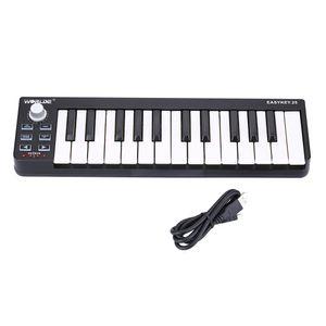 عالية الجودة 25 مفاتيح لوحة المفاتيح MIDI المحمولة الحساسة للسرعة MIDI تحكم لوحة المفاتيح البسيطة دائم 25-مفتاح USB