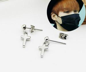Nova Coréia BTS Cross Ear studs ganhos hot men women party simples jóias frete grátis especial