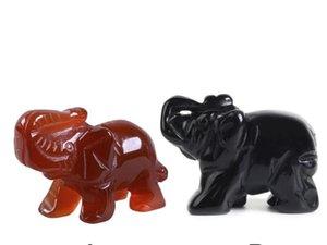 1pc Opal / Aventurin / Obsidian / Kristall / Jade Elefanten Form Stein Creative Home Desk Ornamente Figuren Miniaturen Lucky Item