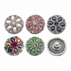 High quality flower 058 18mm 20mm rhinestone metal button for snap button Bracelet Necklace Jewelry For Women Silver jewelry