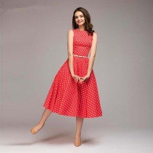 New Vintage Dress Sommer Neue Sleeveless O-Neck Vestidos Frauen Elegante Dünne Dot Printing Mid-Kalb Casual Dress Weibliche Heißer Verkauf